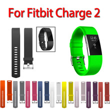 11 Colors Sport Watch Bracelet For Fitbit Charge 2 Watch Small and Large Size silicone Replacement Smart watch band(China)