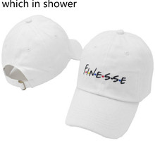 Which in shower White Pink Black Embroidery FINESSE Baseball Cap For Women Men Casual Curved Male Dad Hat Snapback Sun Hat Bone