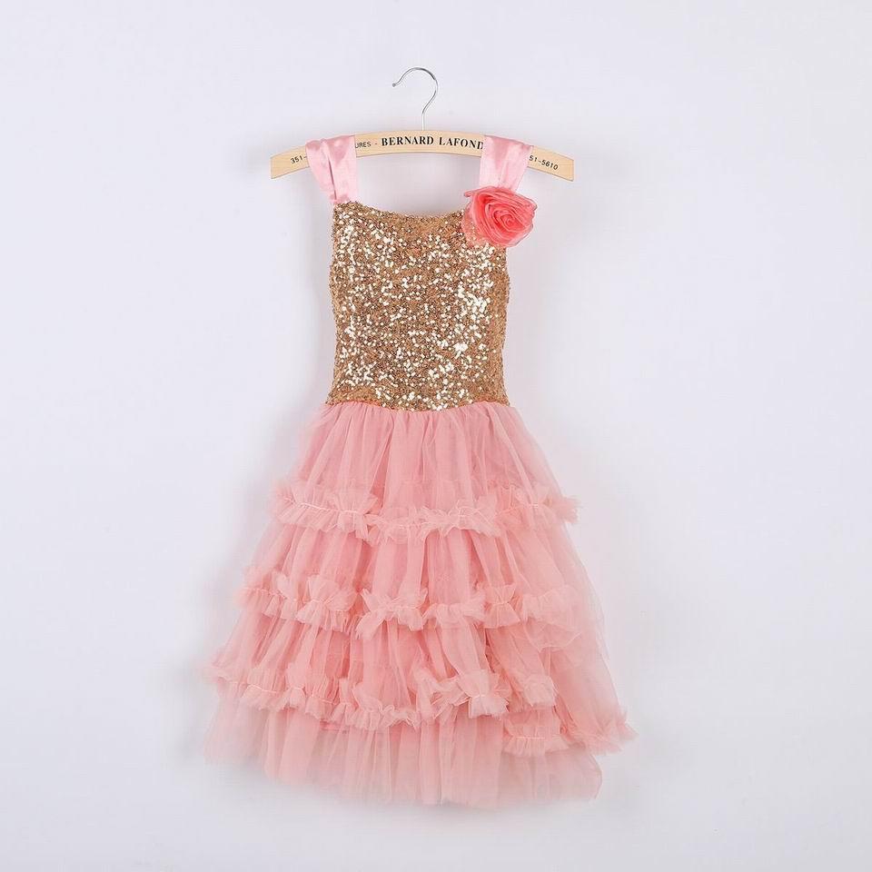 Retail Girl Dresses Corsage Sequins Soft Gauze Princess Dresses Girl performing Dress 1-7T 10233<br><br>Aliexpress