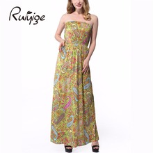 2017 Sexy Milk Silk Women's Flower Floral Printed Dress Strapless Elegant Party Casual Long Summer Dresses Contrast Color