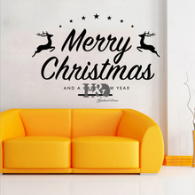 2016 New Style Merry Christmas Deer Wall Sticker Home Shop Store Christmas Party Window Stickers Decoration Removable Waterproof