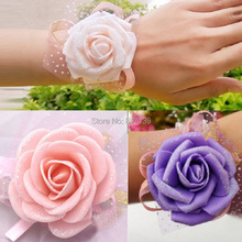 New 1 Piece Wedding Flowers Accessory Bridal Bridesmaid Favors 6CM PE decoration Wrist Flower flores Decal Free Shipping