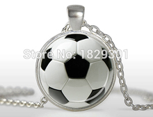 2017 New Soccer Ball Necklace Sports Pendants Jewelry For Men Glass Photo Pendant Necklaces Silver Link ChainsHZ1(China)