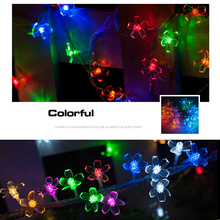 New Multi 2M 20 LED Cherry Blossoms Peach Flower String Fairy Christmas Light, Battery Operated Sakura Garland bettery powered(China)