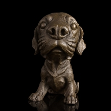 Modern Lovely Puppy Sculptures Chinese Bronze Foo Dog Statue With Marble Base For Home Decoration BRONZE CUSTOM MASCOT(China)
