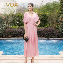 VOA Summer new high waist short sleeved pale pink silk jersey dress hedging silk V-neck dresses A5207
