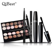Qibest Make Up Set Charming12 Color Eyeshadow + Natural Eyebrow Enhancer Pencil + Cool Black Lipuid Eye liner + 3d Mascara mix