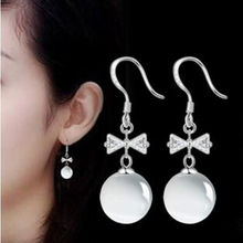 2015 Fashion silver plated jewelry bow opal earrings tassel long section of female ear jewelry manufacturers, wholesale
