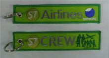 S7 Airlines One World Crew Fabric Embroidery Aviation Keychain Key Tag + Ring