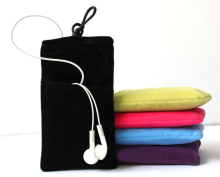 Universal Flannel Soft Cloth Pouch Bag for iphone for Samsung phone MP3 Mp4 3.5 inch Case(China)