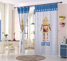 modern kids robot printed cloth blackout bedroom curtain colorful cartoon child boy Living room curtains cortinas for window