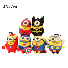 Elsadou 1pcs Marvel Super Hero Cute Yellow Baby Cosplay Spiderman Batman Iron Man Captain America Superman Thor Plush Toy Doll