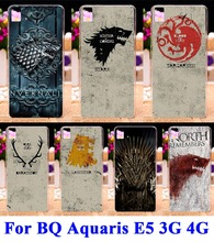 AKABEILA Phone Cases Covers For BQ Aquaris E5 3G 4G Version Shell Hood Hard Plastic Back Shield Game Thrones Family Flag Bags(China)