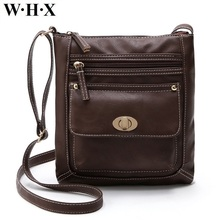 WHX PU Leather Handbag Women Chocolate Dark Brown Bag For Female Messenger Bag Women Crossbody Bags Lady Girls Shoulder Purse(China)