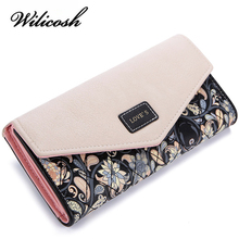 Wilicosh Fashion Printing Women Wallets Leather Women Purse High Quality Wallet Female Clutch Large Capacity WBS125(China)