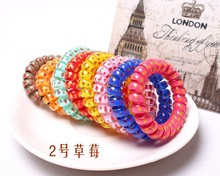 10 Pcs/Lot Hot Sale  Candy Color Hair Rope for Girls Elastic Telephone Wire Hairband Headwear