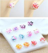 6pair/lot Daisy Resin Small Ear Stud Earrings Set For Women 2016 Fashion Girl Cheap Summer Jewelry Flower Earrings Colored Gifts