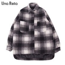 Una Reta Man Casual Jacket Brand New Fashion Men Hip-Hop Style Coat Jackets Oversize Plus Cotton Plaid Woolen Jacket For Male(China)