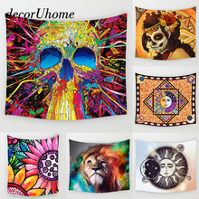 DecorUhome Mandala Round Towel Skull Abstract Sun Flower Hippie Wall Carpets Home Decor Hanging Living Printing Wall Tapestry(China)