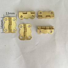 16*13MM 100pcs carved print wooden box hinges gold metal box hinge antique furniture fitting wholesale(China)