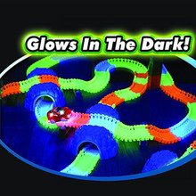 Best Gift For Children! 56pcs/165pcs/220pcs Glowing Racing Set Magic Race Track Toys DIY Bend Flex Glow in the Dark with LED Car
