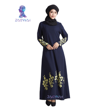 New flower print plus size turkish women abaya dress Islamic clothing for women fashion muslim dress robe adult(China)