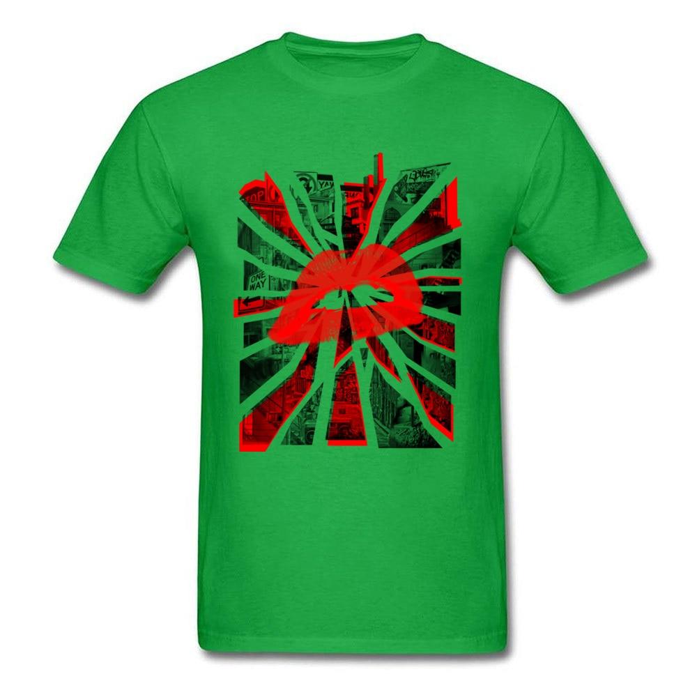 Kisses from the city Unique Short Sleeve Tops T Shirt Summer Crewneck All Cotton Man T Shirt Unique T-shirts 2018 Hot Sale Kisses from the city green