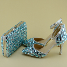 2017 Spring and Summer Blue Rhinestone Shoes With Matching Bag Women Bridal Wedding Pointed Toe High Heels with Ankle Strap