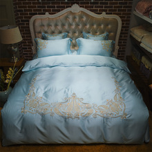 Tencel cotton embroidered Bedding Set white blue adults girls bedclothes king queen size 4/6pc duvet cover sets bed linen(China)
