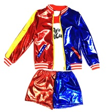 joker and harley quinn cosplay suicide squad shorts set costume children  jacket kids accessories wig shirt for girl costumes