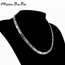 New Water Wave Pattern Germanium Element health Care Choker Colar Silver Color Stainless Steel Necklace Men Boys Chain Jewelry(China)