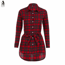 Buy Feitong Plaid Shirt Dress Women Vintage Button Bandage Dress Irregular Turn Collar Long Sleeve Mini Dress Women Clothes for $8.49 in AliExpress store