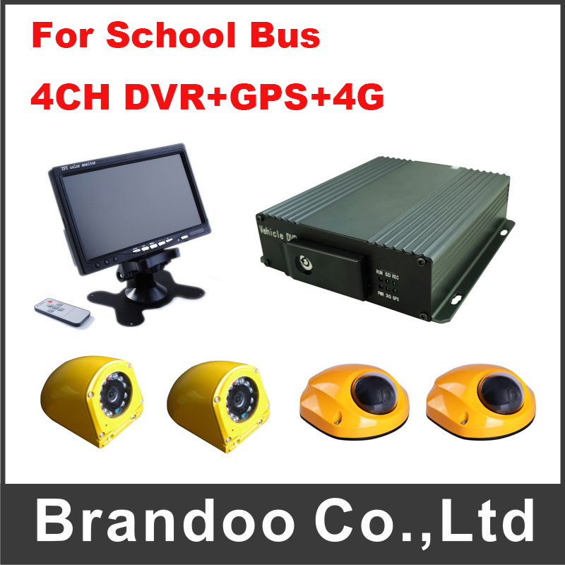 School Bus Car DVR Kit 4CH D1 Car Blackbox With 4G and GPS Function Mobile DVR For School Bus(China (Mainland))