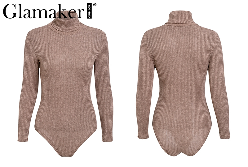 Knitted Turtleneck Sexy Bodysuit, Women's Long Sleeve Casual Bodycon Bodysuit 18