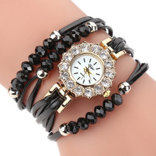 LOVE Watches Women Flower Popular Quartz Watch Luxury Bracelet Women Dress Lady Gift Flower Gemstone Wristwatch Alarm Clocks #1D(China)