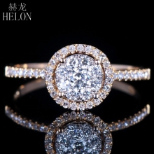 HELON Unique Wedding 0.5CT 100% Genuine Natural Diamond Women Trendy Jewelry Ring Solid 14K White Gold Engagement Brilliant Ring(China)