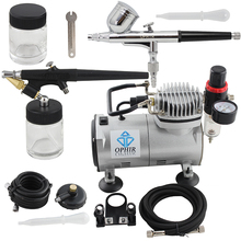 OPHIR 0.3mm 0.8mm Dual Action Airbrush Kit with PRO Air Compressor for Cake Decorating Car Paint Temporary Tattoo_AC089+004+071(China)