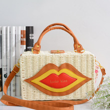 27x17CM Straw Bag Lucky Kiss Trend New Women's Bohemian Beach Bag Japanese Rattan Bag Diagonal Braided Bag A4660(China)