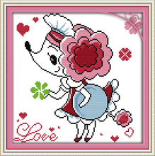 Joy sunday cartoon style Flower and girl cross stitch embroidery designs patterns for christmas gifts