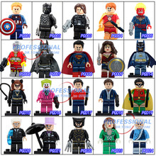2017 New Classics Figures Series 1 POGO Super Heroes Building Block Toys Death Shooter Batman Captain America Panther(China)