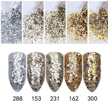 1 Box 10ml Champagne Silver Nail Glitter Powder Sequins Powder Nail Art Decorations #23405