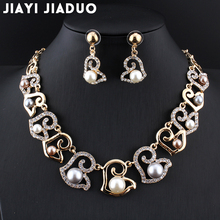 jiayijiaduo African fashion wedding jewelry collection Gold-color imitation pearl necklace earrings beautiful women fashion gift(China)