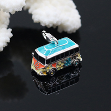 TS Small Volkswagen Hippie Peace VW Bus Charms Fit Bag Bracelet Necklace, Thomas Style Fine Jewelry Gift in Silver for Women Men