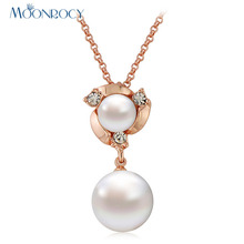 MOONROCY Free Shipping Jewelry Italina Rose Gold Color Imitation Pearl Crystal Necklace Choker for Women Girl Gift Drop Shipping