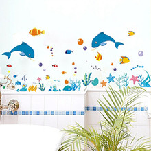 dolphin fish sea world wall sticker ocean fish shower tile stickers in the bathroom on bath bathing pool Bathtub XY8047(China)