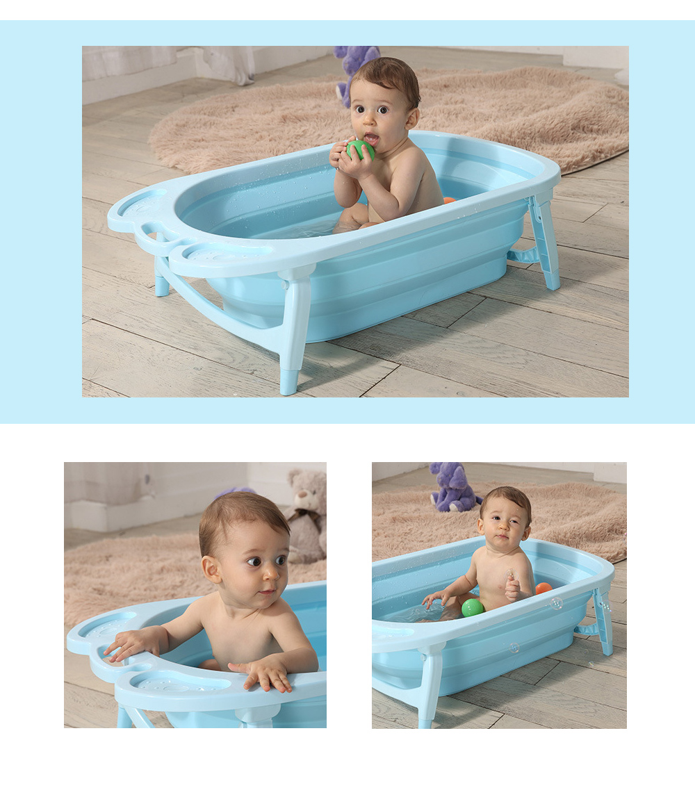 3 Colors Portable Folding Baby Bath Tub Large Size Anti-Slip Bottom Non-Toxic Material Children Bathtub Bucket for Baby Bathing (9)