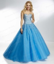 Free Shipping Indian Style Ball Gown Sweetheart Corset Back Floor Length Tulle Long Puffy Prom Dress With Beadings PA9527