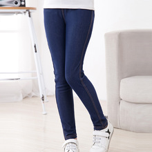 SheeCute New Spring Summer Fashion Girls Pencil knit Imitation denim fabric Jeans Kids Candy Colore Mid Waist Full Length pants(China)