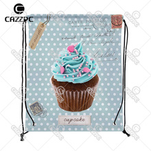 Blue-Green Vintage Dot Postcard Cute Cupcake Cate Food individual Nylon Fabric Drawstring Shoes Storage Dust Bag Pack of 4