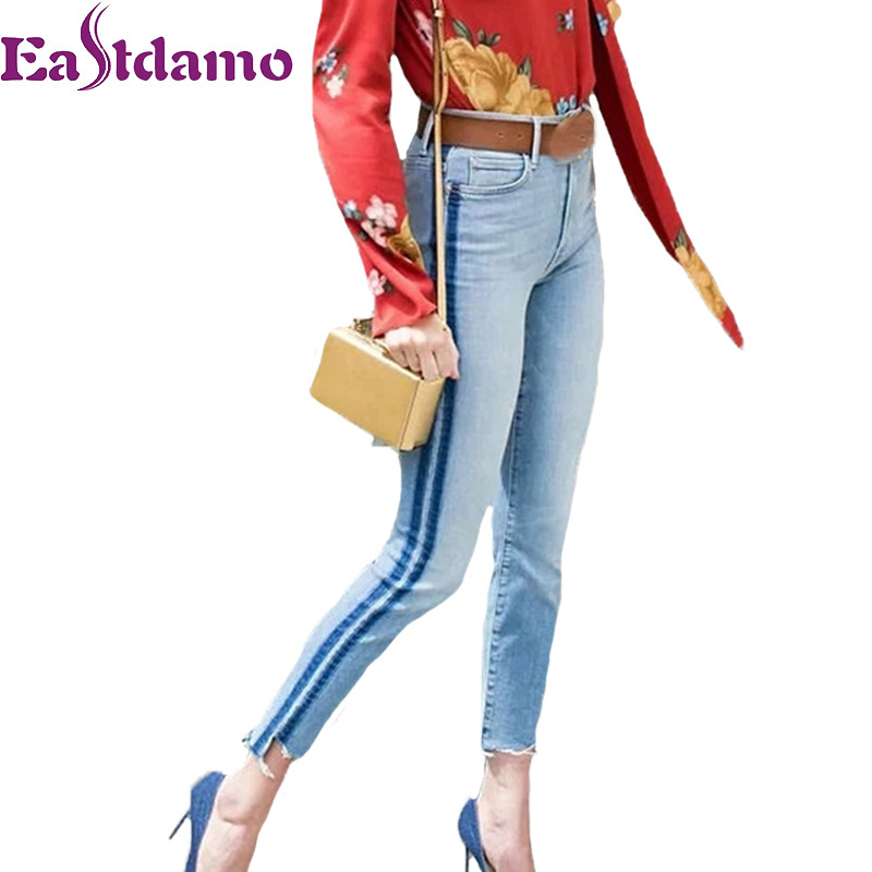 Eastdamo Side Striped Jeans For Women Blue Skinny Jeans High Waist Denim Pants Casual Ankle Length Pencil Pants Female JeansÎäåæäà è àêñåññóàðû<br><br>